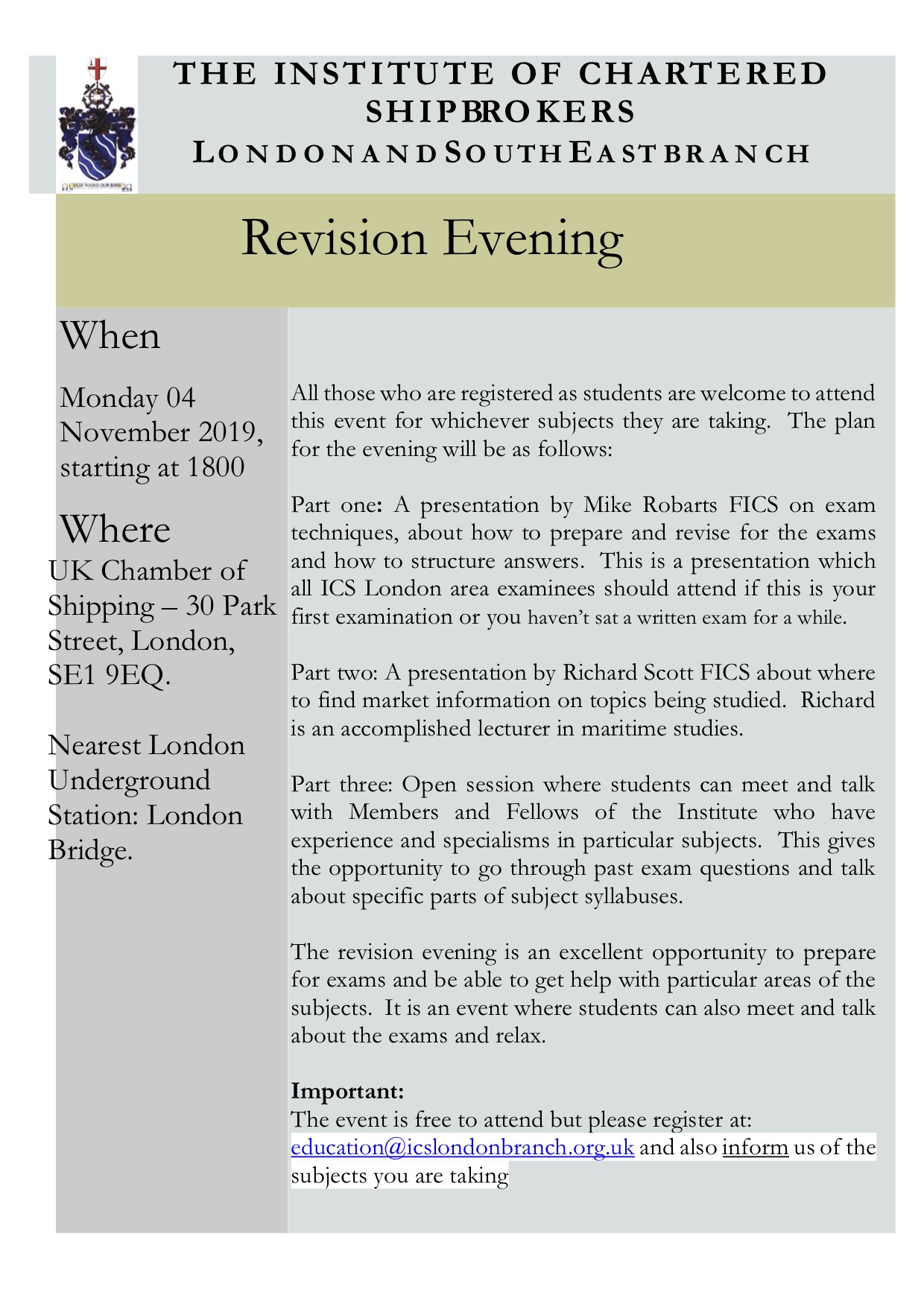 Nov 19 Revision evening flyer